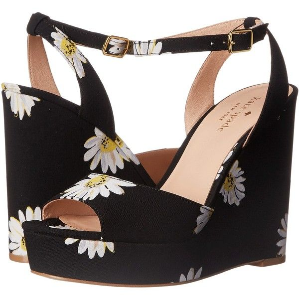 ec7c0ca83005 Kate Spade New York Dellie (Black Falling Daisy Printed Fabric)... ( 128) ❤  liked on Polyvore featuring shoes