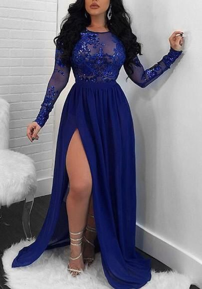 Sparkling A-Line Royal Blue Evening Dress Long Sleeve Lace Appliques Sequined High Slit Round Neck Prom Dresses Elegant Formal Party Gowns M7462