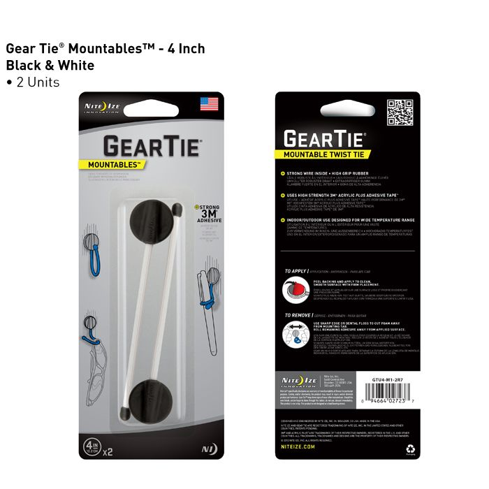 With the Gear Tie Mountables, you can put the exact-shaped hook you need right where you need it. Backed with 3M® Acrylic Plus Tape™, the Gear Tie Mountable Twist Tie can be attached to nearly any surface without drilling holes or using tools. It stays firm and in place through extreme temperatures, both in and out of doors, but can be removed whenever you choose without damaging the surface it's been attached to.