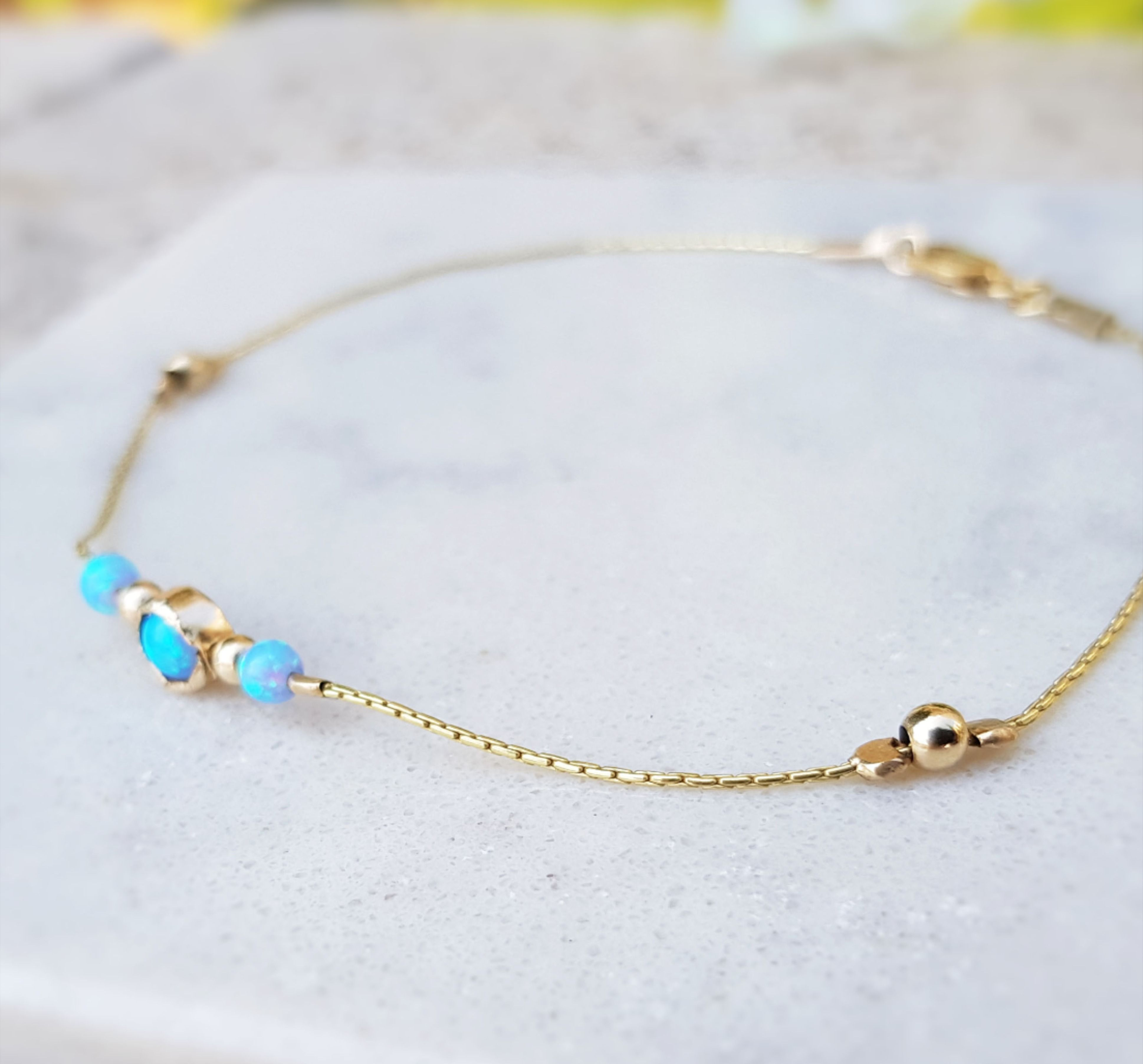 Dainty Opal Anklet,Opal Jewelry,Gold Opal Anklet,Beach Anklet