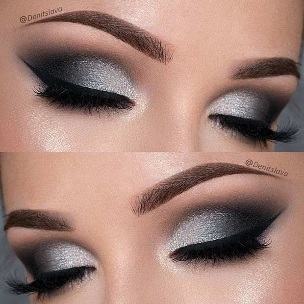 Dramatic Black and Silver Prom Eye Makeup Look  77d504234eab3
