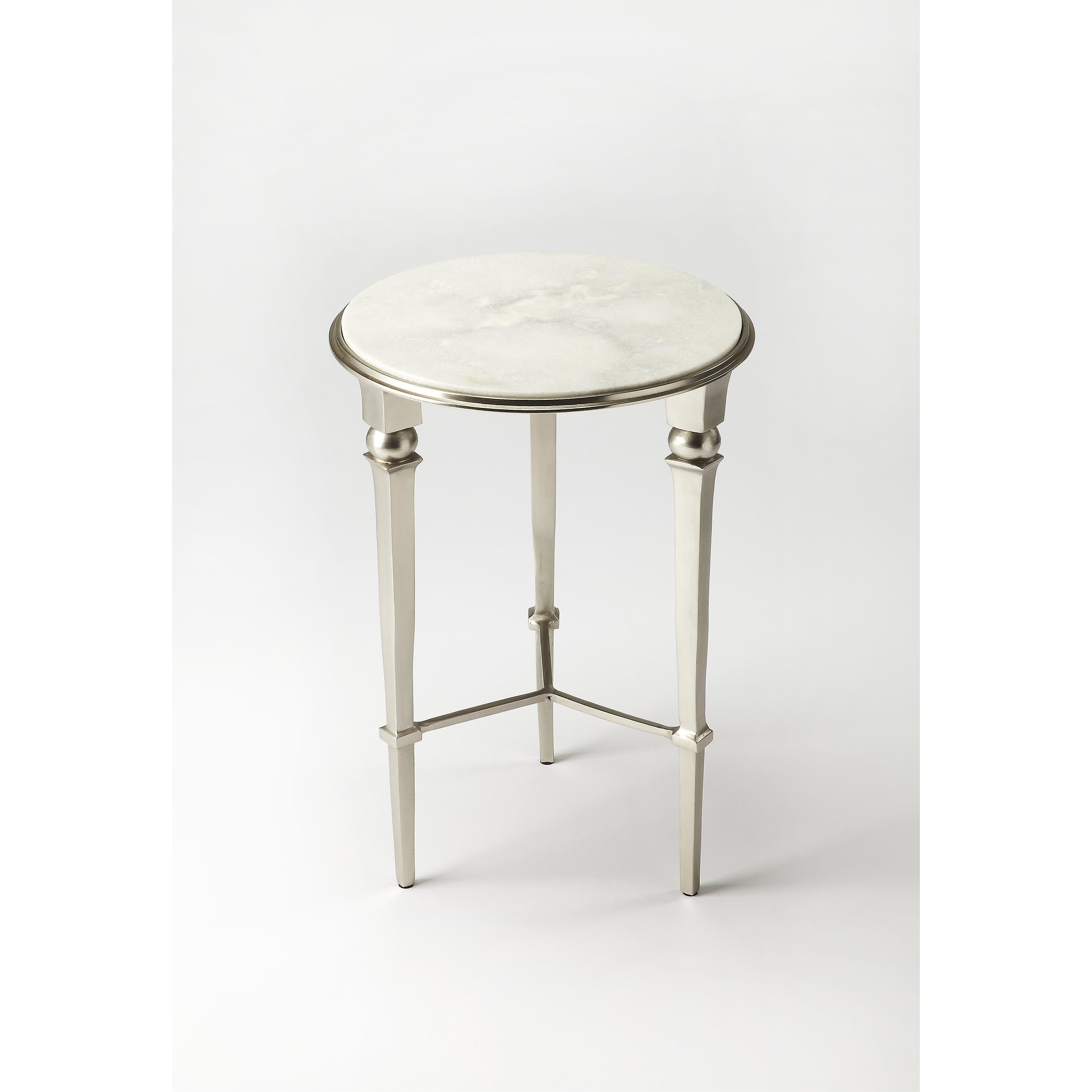 butler darrieux white and silvertone iron marble aluminum end table rh pinterest at
