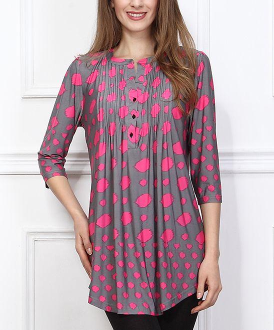 2059a83dd03 Reborn Collection Pink   Gray Dot Notch Neck Tunic