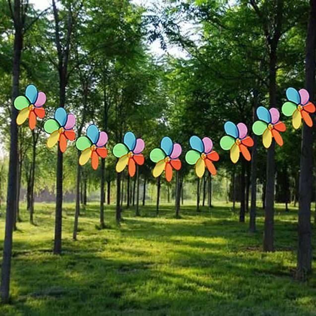 8pcs Rainbow Flower Windmill Garden Wind Spinner Festival Outdoor
