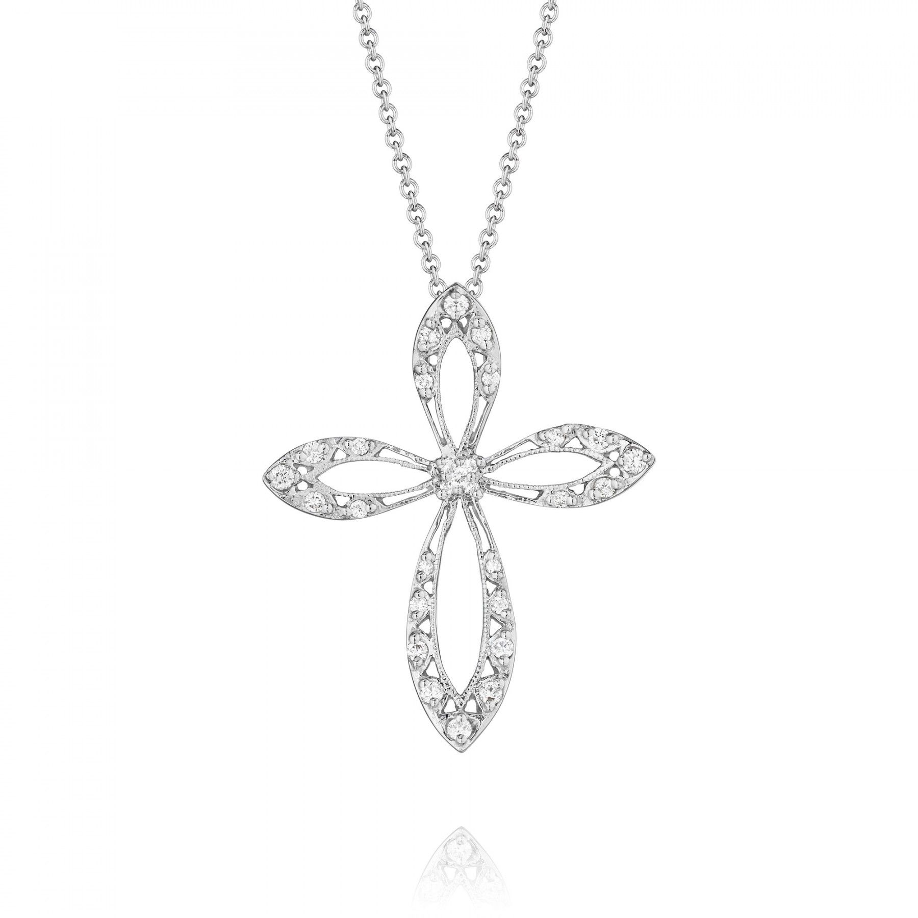 Style FP564 Classic Crescent Diamond Cross Necklace Jewelry