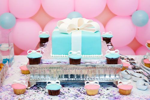 Tiffany Blue And Pink Elegant Rooftop Baby Shower For Sofie Tiffany Present  Cake
