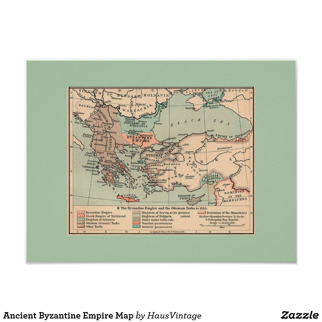 Ancient Byzantine Empire Map Poster