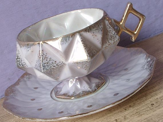 Antique Royal Halsey fine china grey tea cup and by ShoponSherman,
