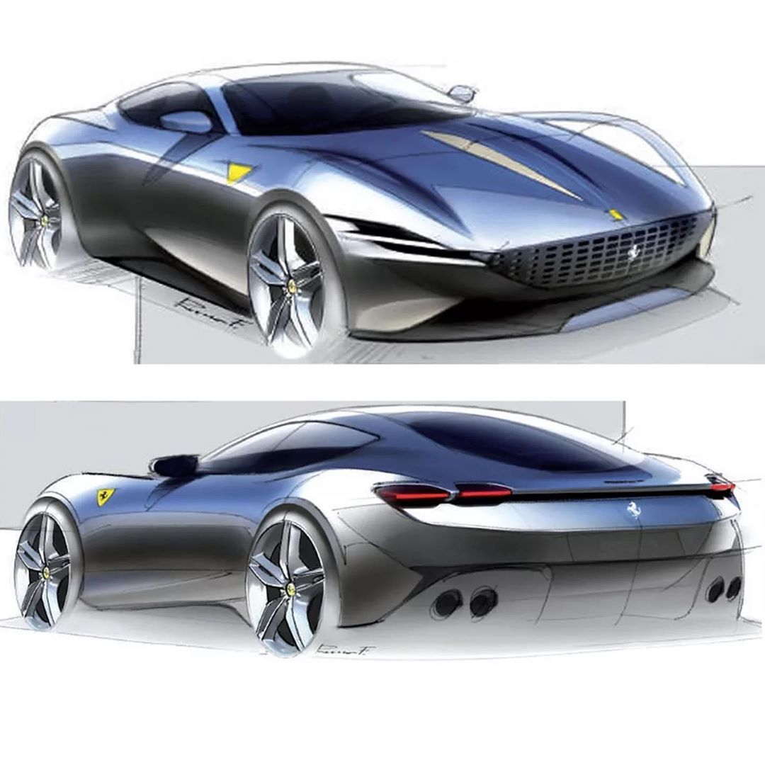 Car Design Sketch On Instagram Ferrari Roma Official Sketches By