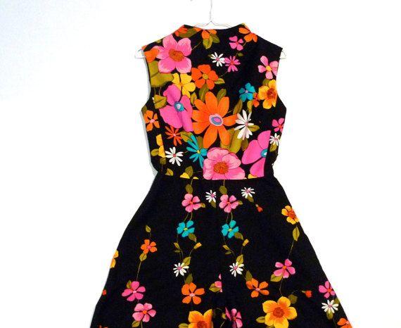 f0923e8e08a0 Alice Polynesian Fashions Jumpsuit Vintage Black Flower Power ...