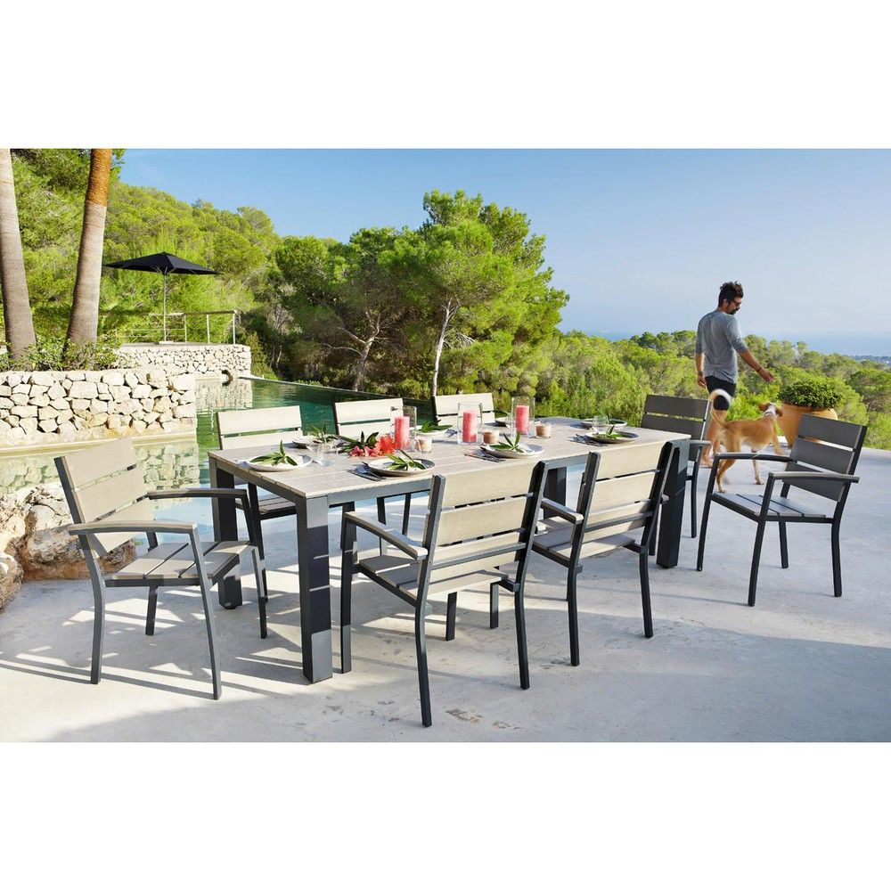 Anthracite Grey Garden Table 8/10-Seater in Aluminium W 230 ...