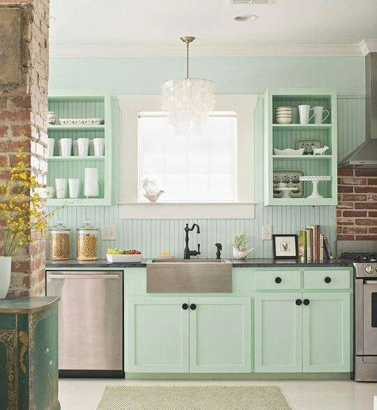 Mint Green Kitchen Walls With White Cabinets Kitchen
