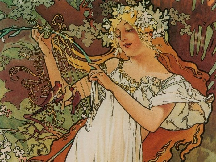 The Four Seasons - Spring  By Alphonse Mucha