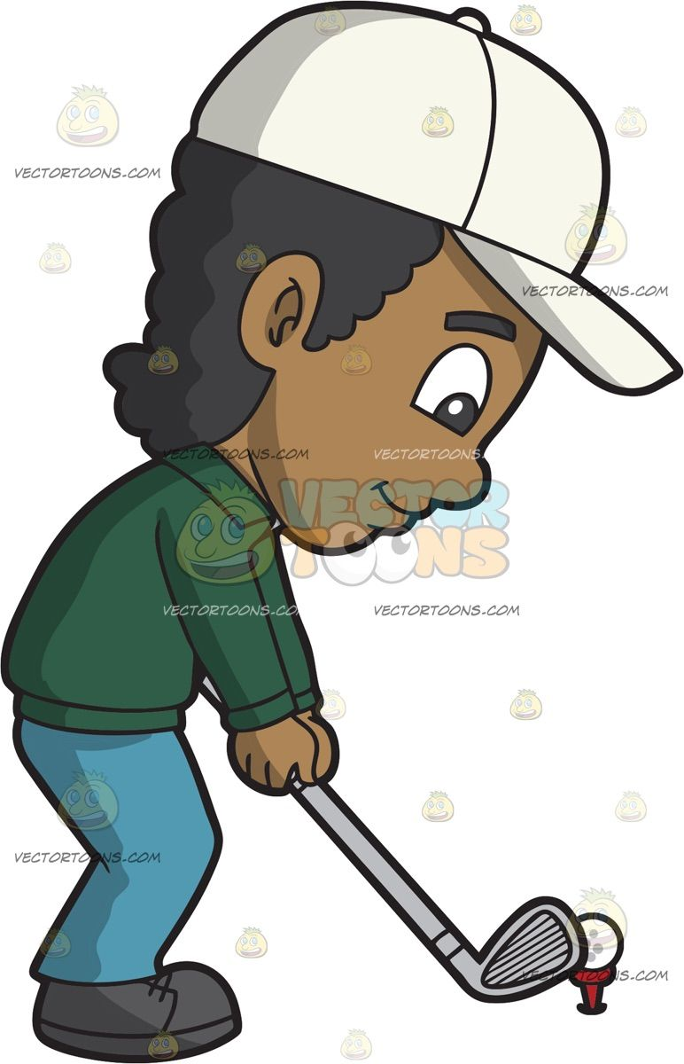 a calm black boy playing golf | sports clipart | pinterest | black