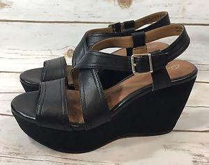 Clarks Artisan Nadene Ziva Black Leather Wedge Heel Sandals Womens Size 8.5M  | eBay