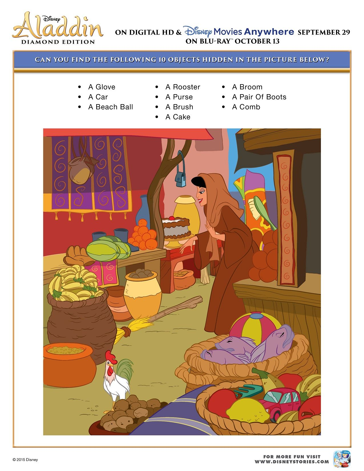 Free Printable Disney Aladdin Activity Sheets Diamond Edition ...