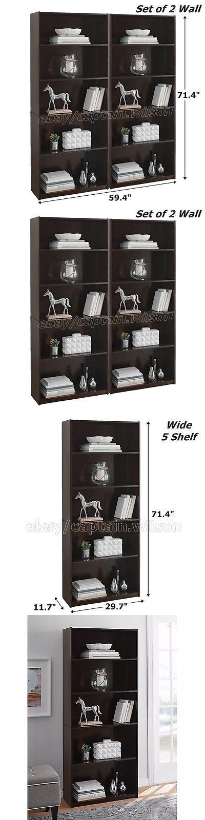Bookcases 3199 Bookcase Wide 5 Shelf Set Of 2 Pcs Black Brown Espresso Adjule Bookshelf It Now Only 69 91 On Ebay