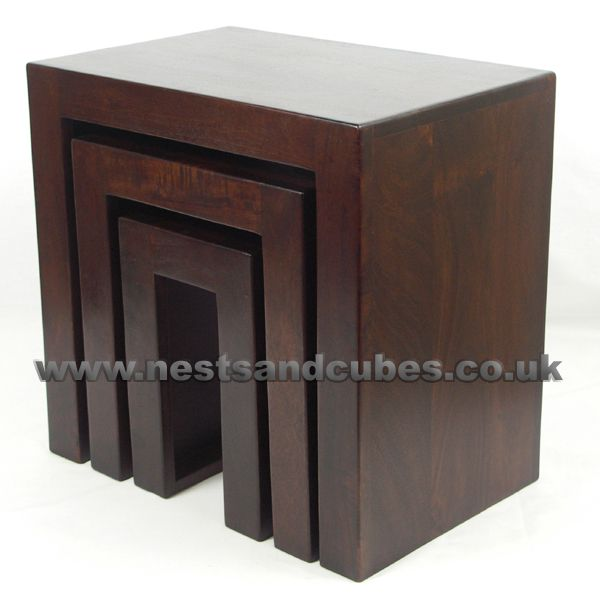 NE378 ~ Nest of 3 solid mango wood tables dark walnut colour.SPECIAL OFFER