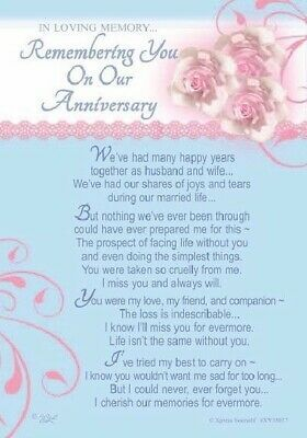 First Anniversary Husband Bereavement Graveside Memorial Keepsake Card 157 for sale | eBay