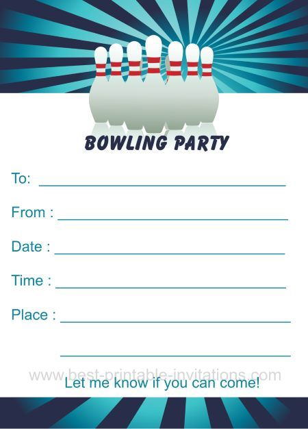 Bowling Birthday Party Invitations From Www Best Printable