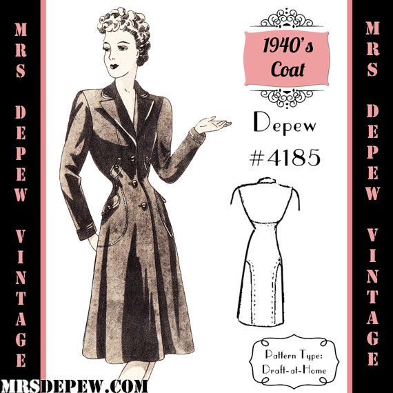 Vintage Sewing Pattern 1940\'s Redingote Coat in Any Size # 4185 ...