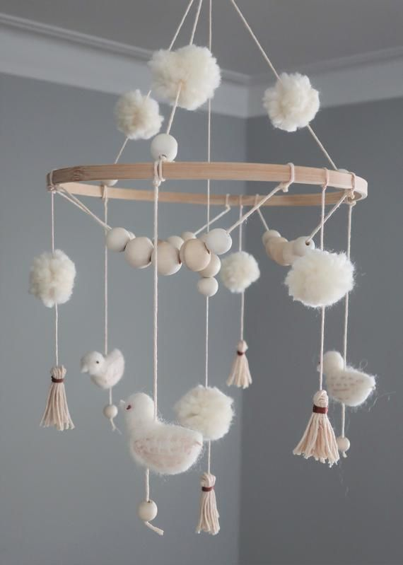 Photo of Boho Baby Mobile – Baby Girl Crib Mobile for Nursery / Baby Shower Gift | Neutral Colors + Birds + Dusty Rose/Light Pink