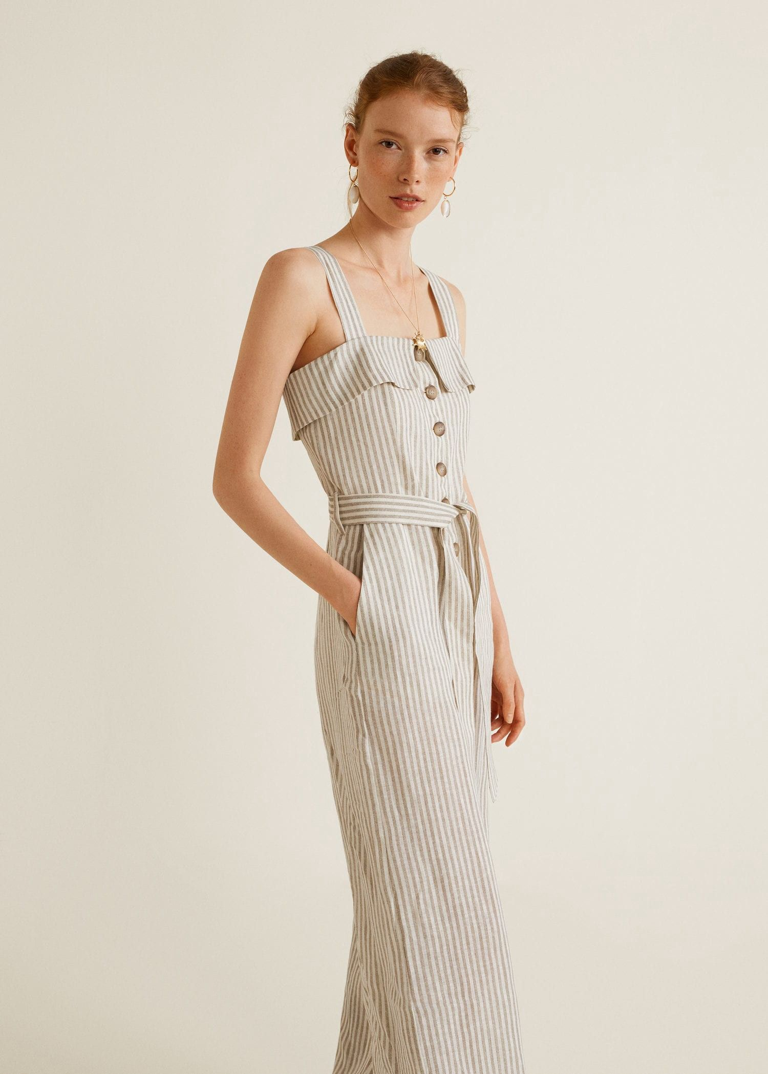 e243f1b5439 Mango Linen-Blend Striped Jumpsuit - XXS