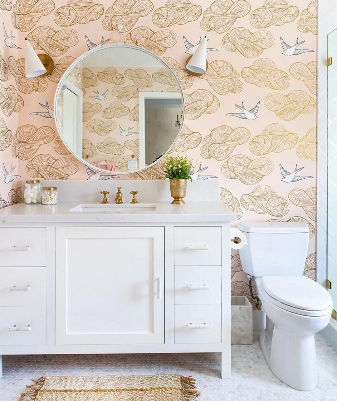 Pin By Bree On Jastell In 2021 Small Bathroom Wallpaper Daydream Wallpaper Blush Wallpaper