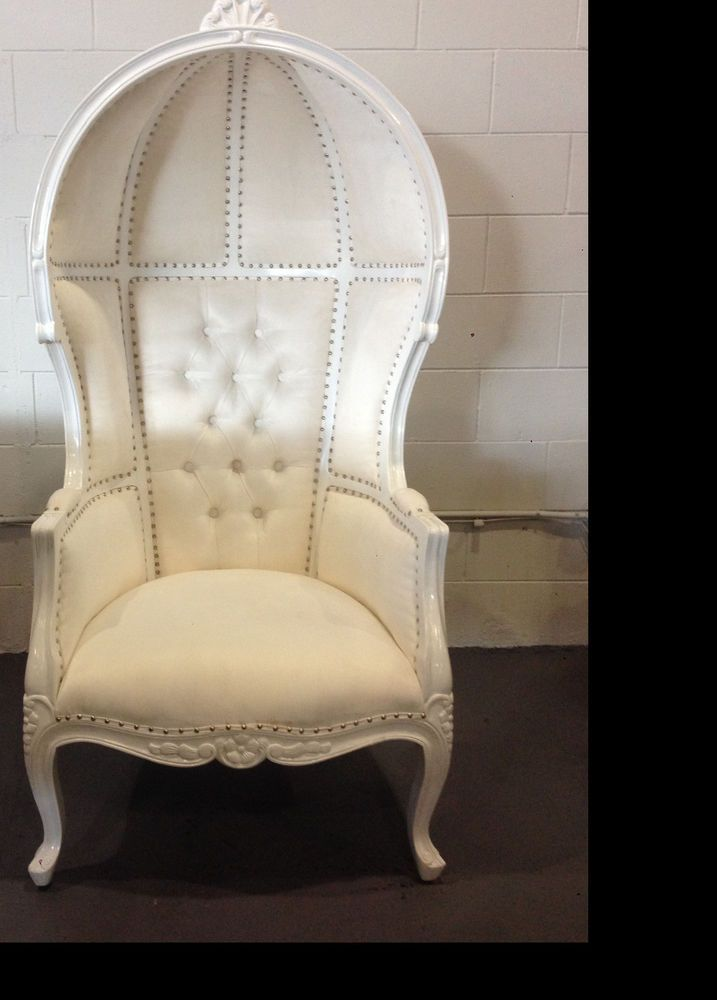 Marvelous Hollywood Regency White Porters Chair Domed Bonnet Canopy Cjindustries Chair Design For Home Cjindustriesco