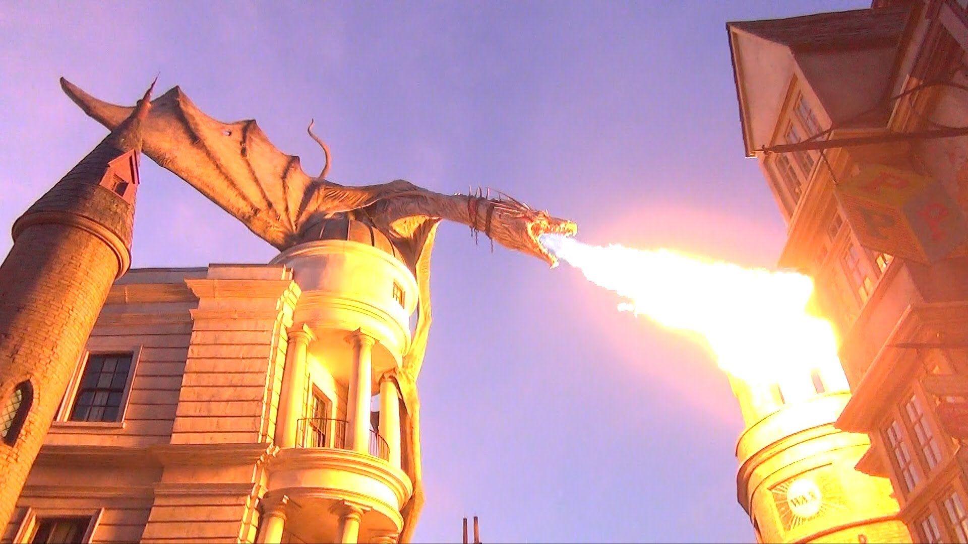 Diagon alley gringotts dragon breathes fire day into night diagon alley gringotts dragon breathes fire day into night ccuart Choice Image