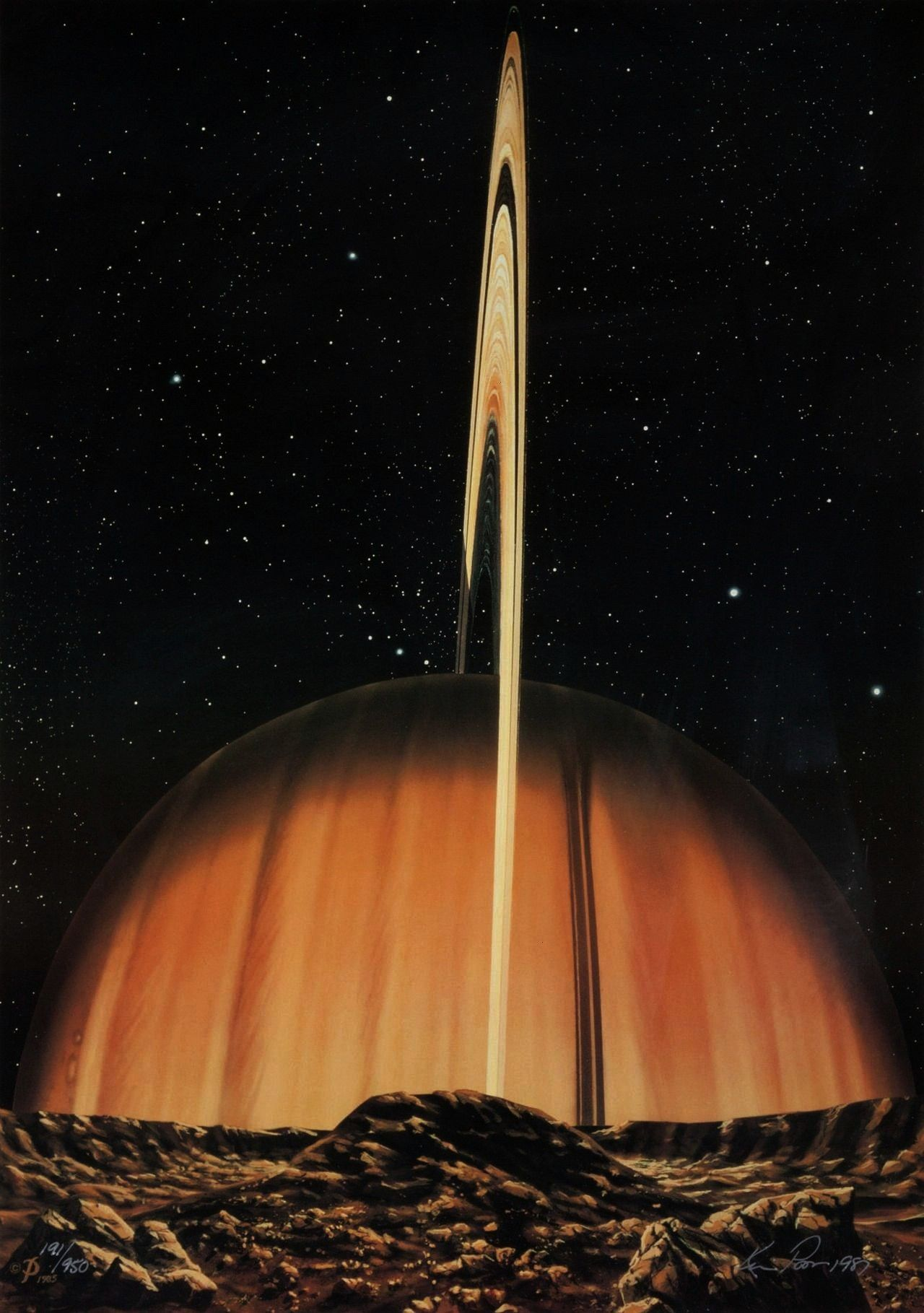 large over Mimas in The Sword of Herschel by Kim Poor 1985 Saturn looms large over Mimas in The Sword of Herschel by Kim Poor 1985  Learn about gravity and laws of motion...