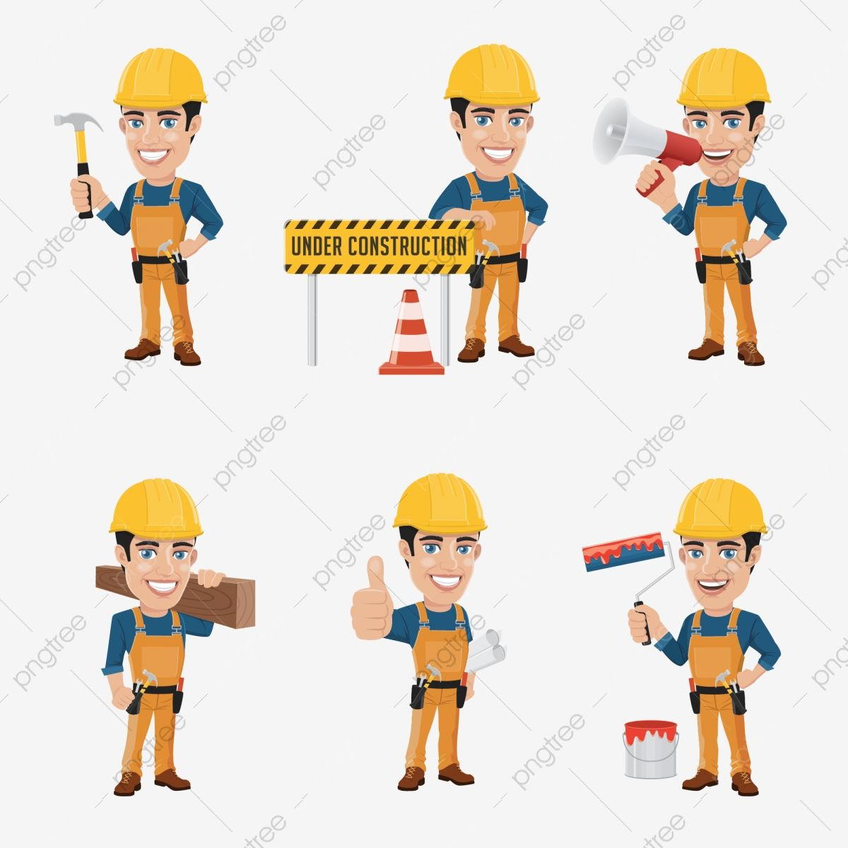 Set Of Construction Worker Character In 6 Different Poses Construction Worker Clipart Construction Worker Png And Vector With Transparent Background For Free Construction Worker Construction Character Illustration