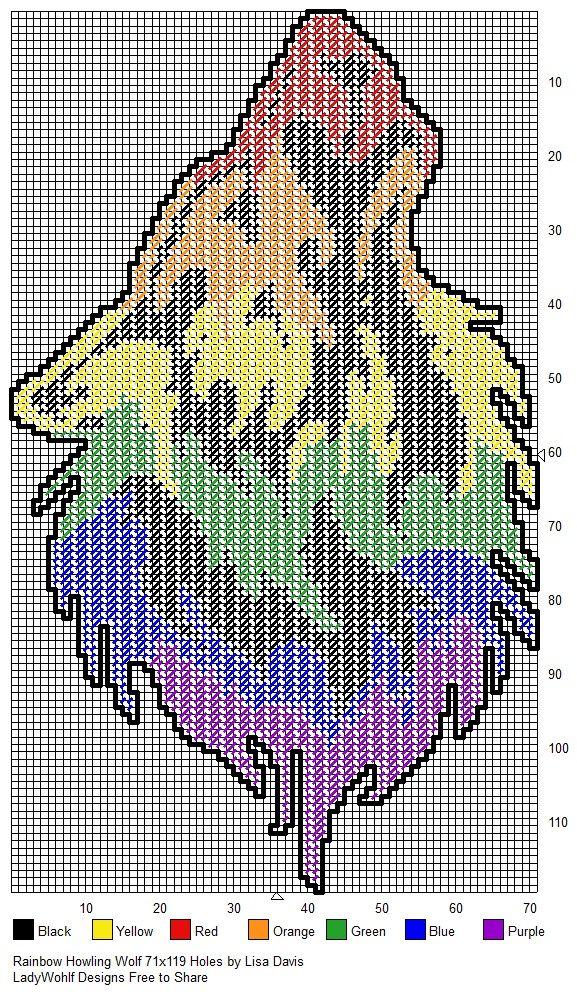 Rainbow Howling Wolf | General crafts | Pinterest | Wolf, Strick und ...