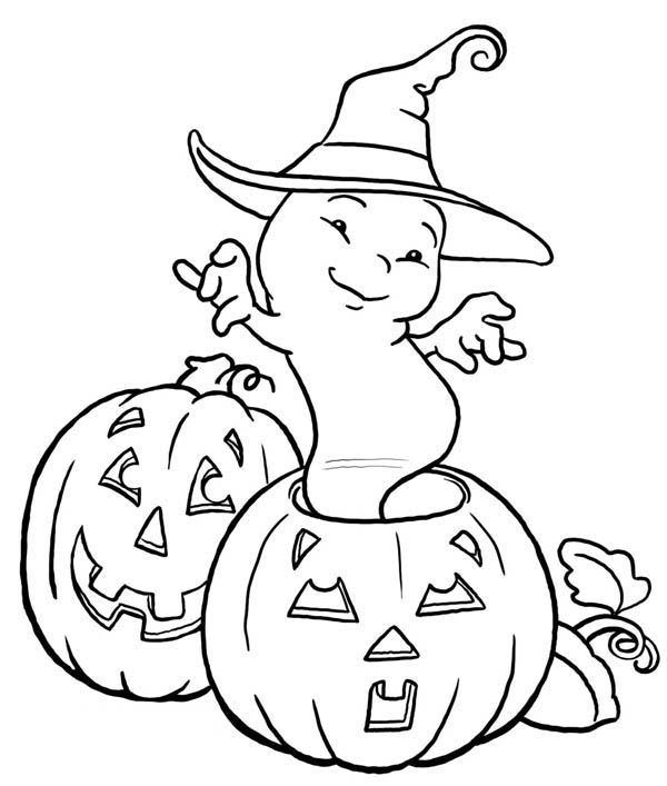 Pumpkin Ghost With Witch Hat Coloring Page Kids Play Color Halloween Coloring Book Halloween Coloring Sheets Halloween Coloring Pictures