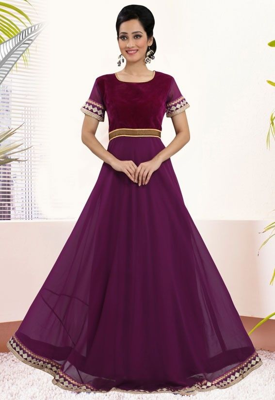 Gorgeous Grape Color Gown | Lowest price | Pinterest | Party wear ...