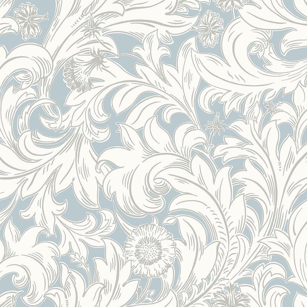 Crown 8 In X 10 In Ahu Light Blue Scroll Sample M1174sam Brick Wallpaper Paper Wallpaper Wallpaper