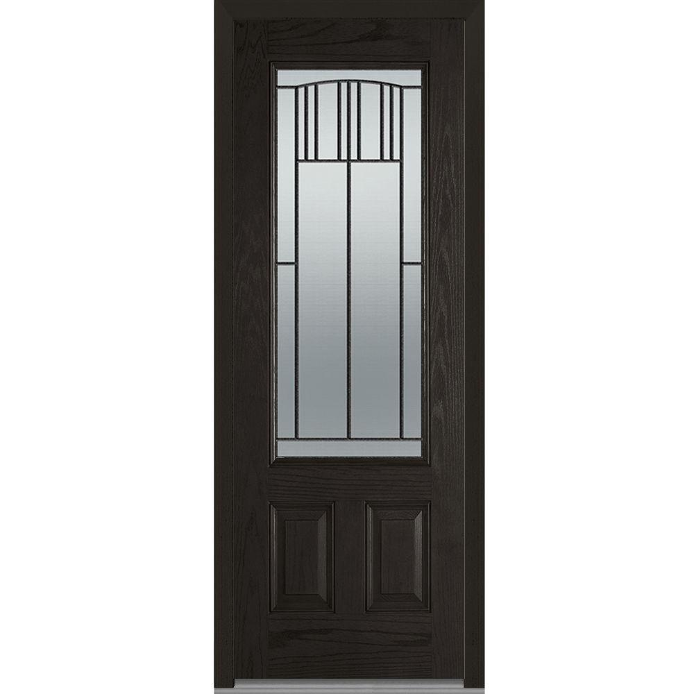 Milliken Millwork 36 In X 96 In Madison Decorative Glass 3 4 Lite Finished Oak Fiberglass Prehung Front Door Mmi Door Front Door Painted Paneling