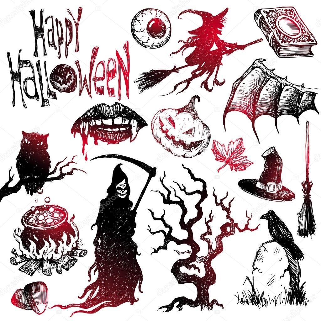 Halloween & horror hand drawn set. Vector EPS Halloween