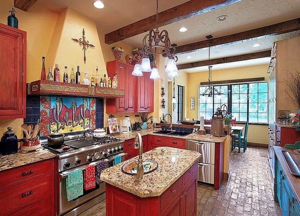 40 Lovely Rustic Western Style Kitchen Decorations Ideas Mexican Style Kitchens Mexican Kitchen Decor Kitchen Decor Mexican Style