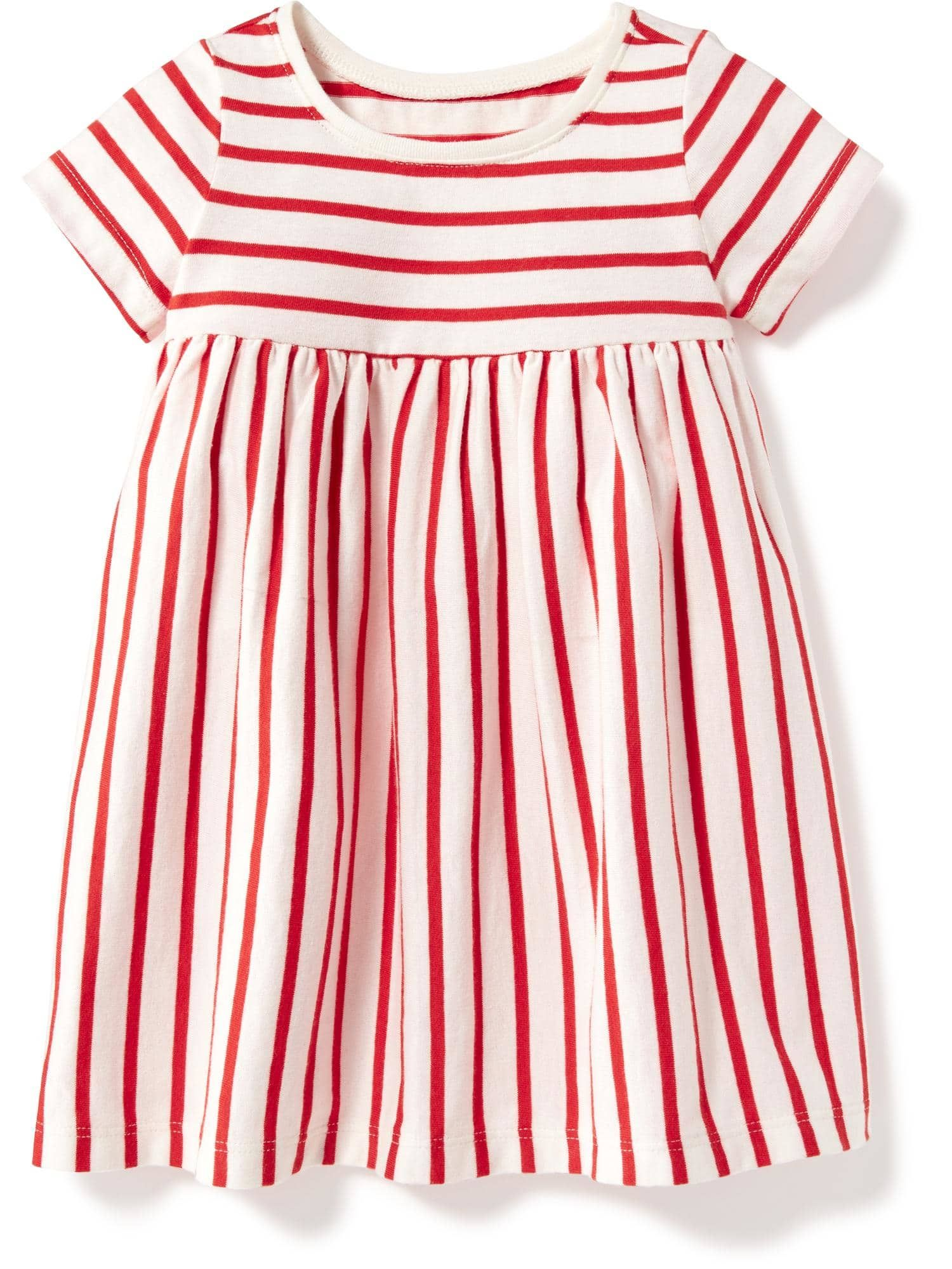 Striped red jersey dress
