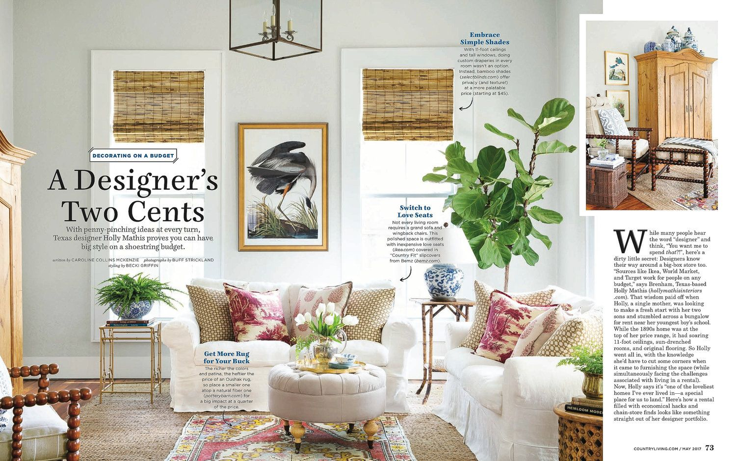 Holly Mathis In Country Living Magazine With Images Country Living Magazine Decor Vintage Whites Market