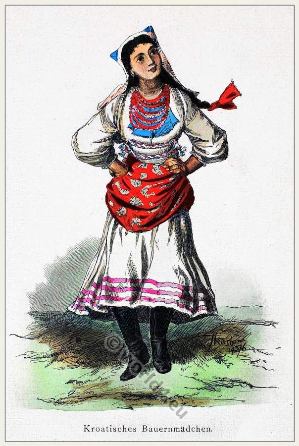 Dancing Croatian peasant girl in 1870