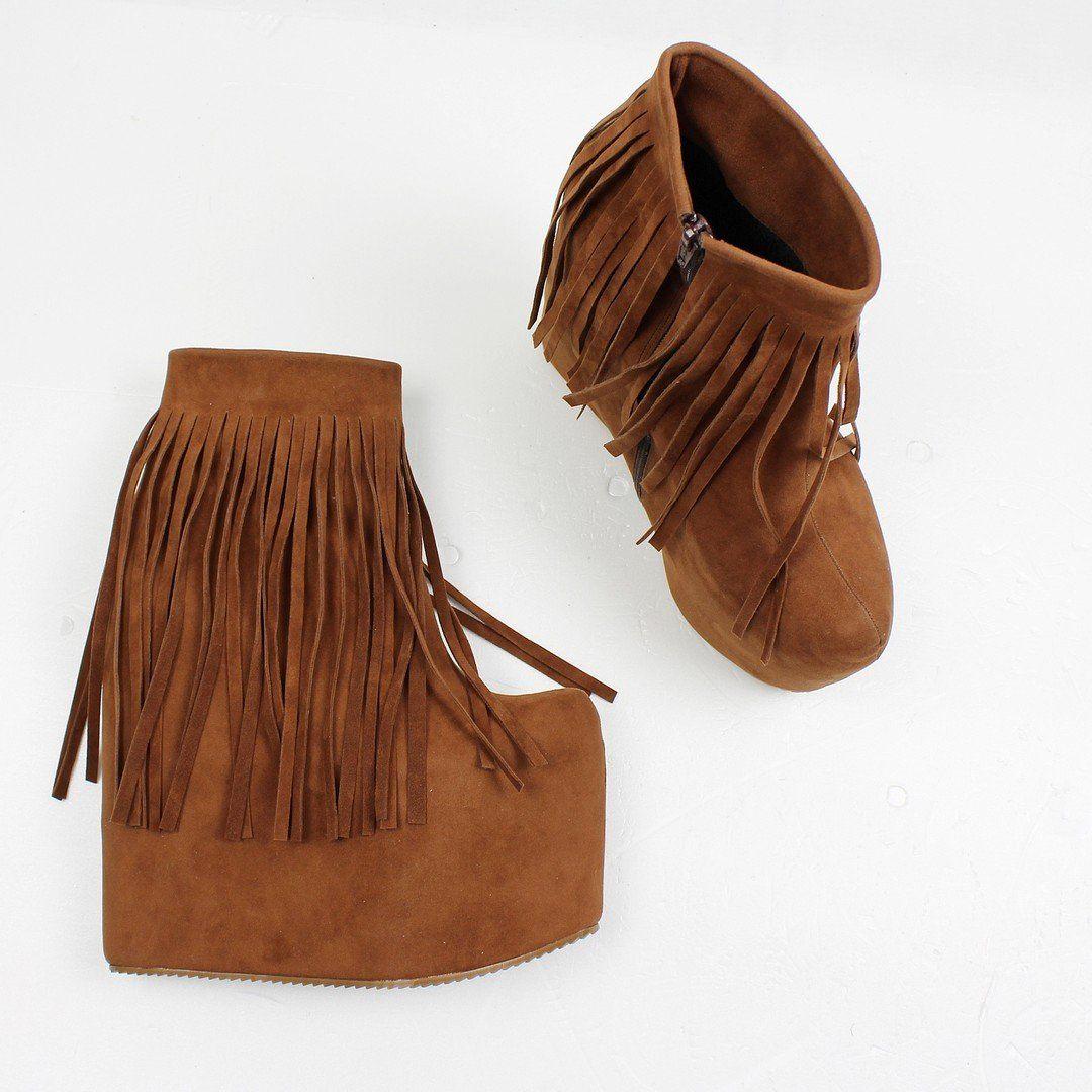 50b3d191990e Brown Fringe High Heel Wedge Booties – Tajna Club