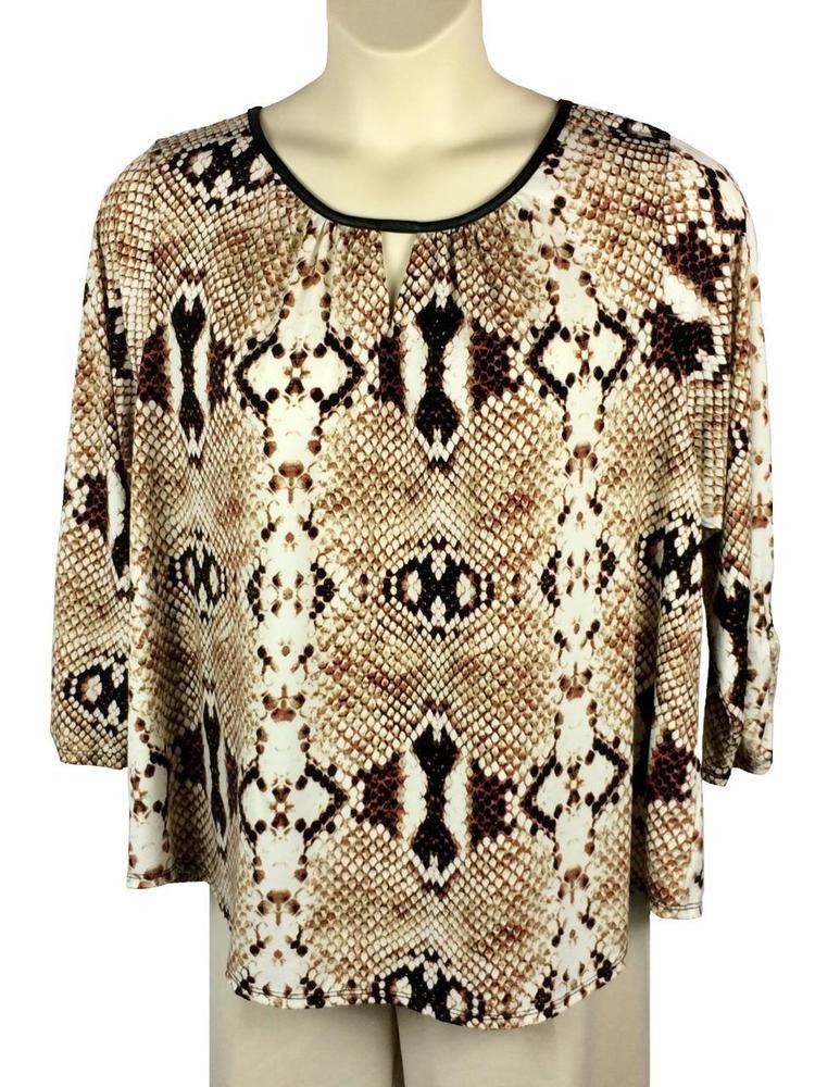 461dd8edab6bb Womens Worthington Blouse Plus Size 2X Brown Snake Print Faux Leather Trim