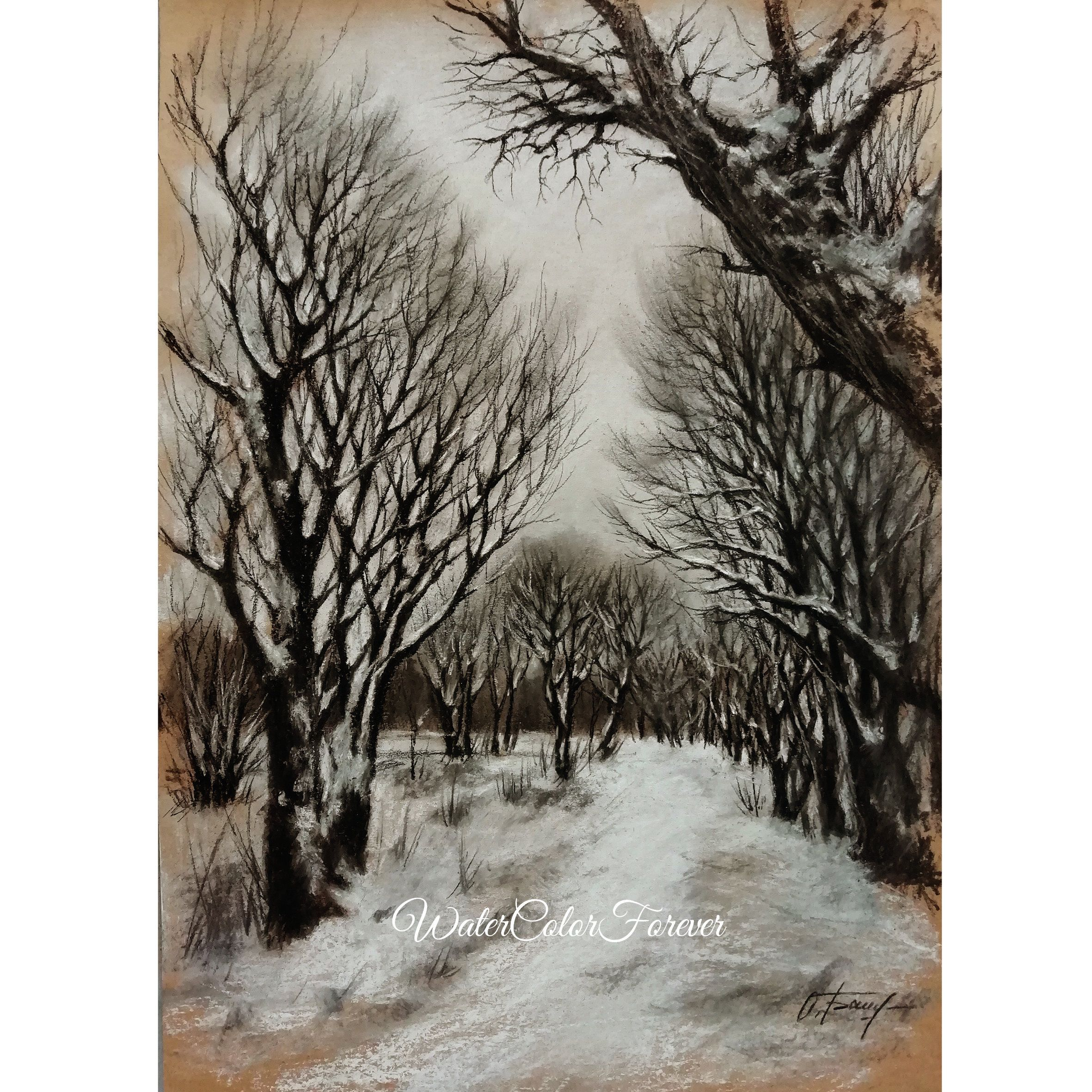 Winter Tree Original Charcoal Drawing Winter Landscape Snow Etsy Winter Artwork Scenery Paintings Winter Painting