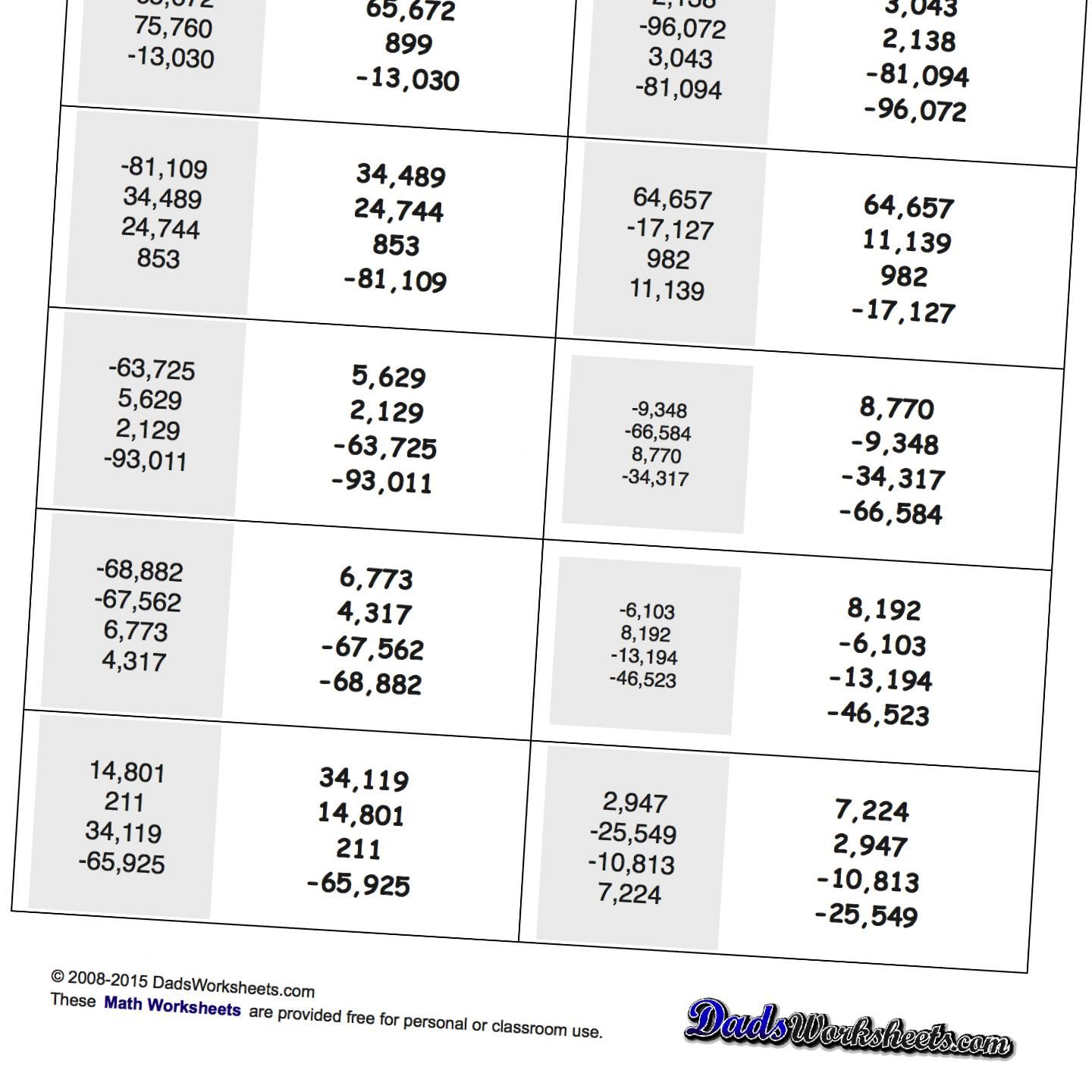 Math Worksheets Ordering Numbers With Positive And
