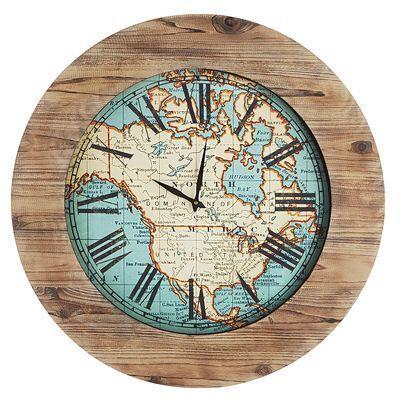 World map wall clock coastal living vacation home ideas world map wall clock gumiabroncs Choice Image