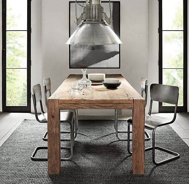 Captivating Parsons Reclaimed Russian Oak Dining Table