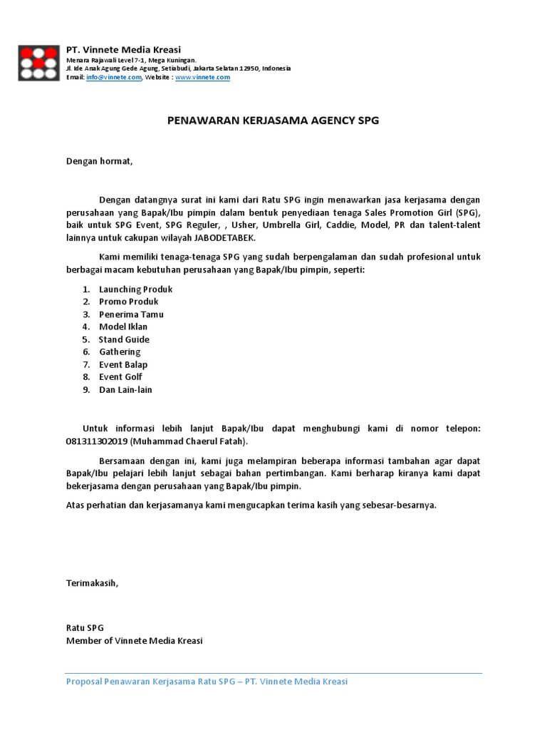 10 Contoh Surat Penawaran Kerjasama Surat Surat Pengunduran Diri Pemerintah