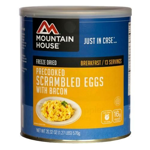 Breakfasts - Scrambled Eggs with Bacon, 13 Servings Manufacture ID: 0030447 If you like smokey scrambled eggs and bacon for breakfast, this is the Adventure Meal for you. And because each can contains